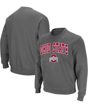 Men's Charcoal Ohio State Buckeyes Team Arch Logo Tackle Twill Pullover Sweatshirt