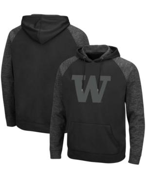 Men's Black Washington Huskies Blackout 3.0 Tonal Raglan Pullover Hoodie