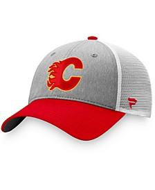 Men's Gray, Red Calgary Flames Team Trucker Snapback Hat