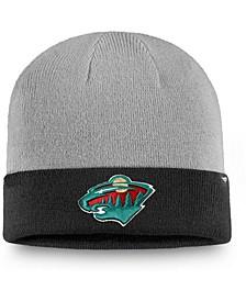 Men's Gray, Black Minnesota Wild Two-Tone Cuffed Knit Hat