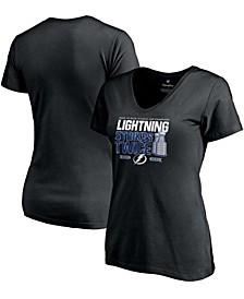 Women's Black Tampa Bay Lightning Back-To-Back Stanley Cup Champions Lightning Strikes Twice V-Neck T-shirt