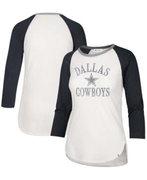 Womens White, Navy Dallas Cowboys Frankie Ring Around Raglan 3/4 Sleeve T-shirt