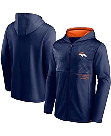 Men's Navy Denver Broncos Defender Full-Zip Hoodie Jacket