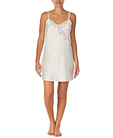 Lace-Trim Satin Chemise Nightgown