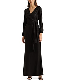 Foiled Jersey Long-Sleeve Gown