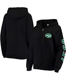 Women's Black New York Jets Fleece Full-Zip Hoodie