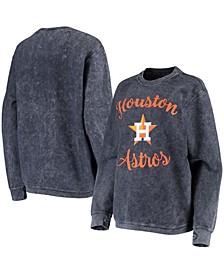 Women's Navy Houston Astros Script Comfy Cord Pullover Sweatshirt
