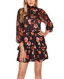Black Label Floral with Blouson Sleeves Dress