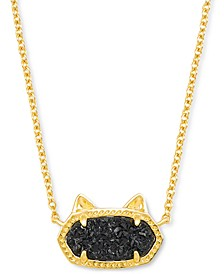 "Drusy Stone Cat 18"" Adjustable Pendant Necklace"