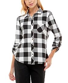 Juniors' Cozy Plaid Knit Shirt