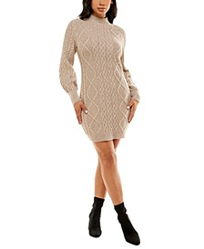 Juniors' Mock-Neck Balloon-Sleeve Cable-Knit Sweater Dress