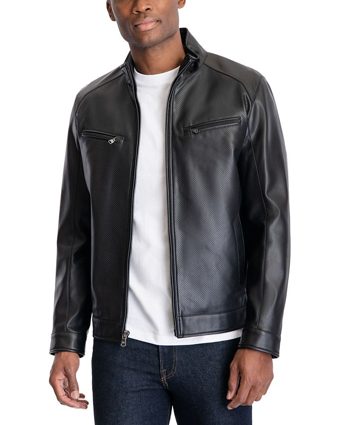 Michael Kors - Men's Perforated Faux Leather Moto Jacket