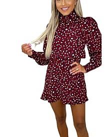 Women's Printed High Neck Mini Dress