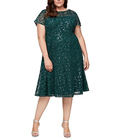 Plus Size Sequined Illusion-Neck Fit & Flare Dress