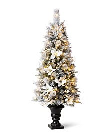 Pre-Lit Pine Artificial Christmas Porch Tree with 150 Warm White Lights, 5'
