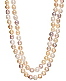 Multi Two-Row Cultured Freshwater Pearl Strand in Sterling Silver (9-1/2mm)