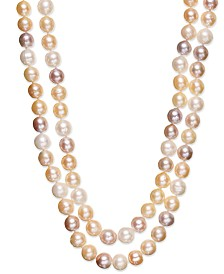 Belle de Mer Multi Two-Row Cultured Freshwater Pearl Strand in Sterling Silver (9-1/2mm)
