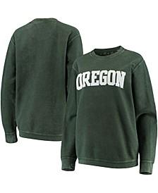 Women's Green Oregon Ducks Comfy Cord Vintage-Like Wash Basic Arch Pullover Sweatshirt