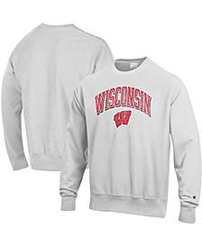 Men's Gray Wisconsin Badgers Arch Over Logo Reverse Weave Pullover Sweatshirt