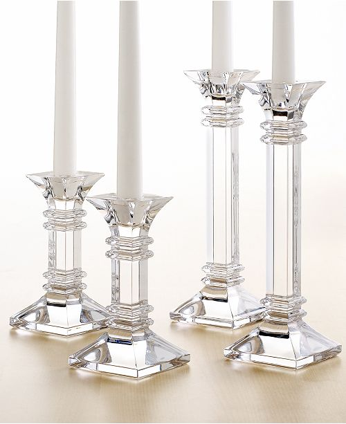 A Modern Take On Clic Design These Crystal Candlesticks Feature Sleek Lines And Sharp Precise Edges That Converge Substantial Base