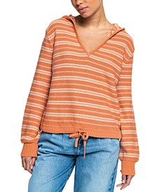 Juniors' Turning Out Stripe Hooded Sweater