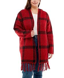 Plus Size Long Sleeve Hooded Jacquard Cardigan with Fringe