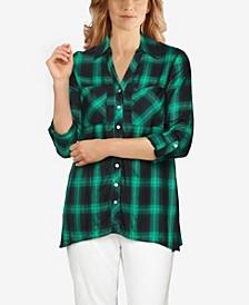 Women's Plaid Button-Front Handkerchief Top