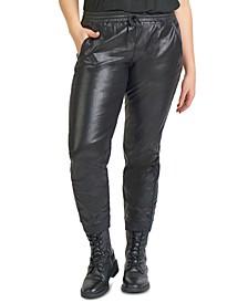 Plus Size Faux Leather Joggers