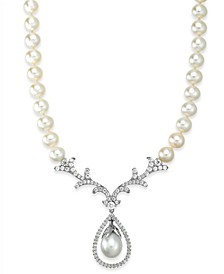 Bridal Cultured Freshwater Pearl (8mm) and Swarovski Zirconia  Necklace in Sterling Silver