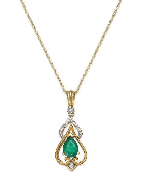 Macy's Emerald (5/8 ct. t.w.) and Diamond Accent Pendant Necklace in 14k Gold