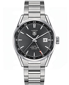 TAG Heuer Men's Swiss Automatic Carrera Calibre 7 Twin-Time Stainless Steel Bracelet Watch 41mm WAR2012.BA0723