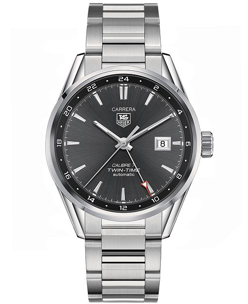 2f477bde0690 ... TAG Heuer Men s Swiss Automatic Carrera Calibre 7 Twin-Time Stainless  Steel Bracelet Watch ...