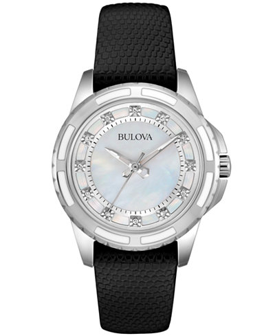 Bulova Women's Diamond Accent Black Leather Strap Watch 32mm 98P139