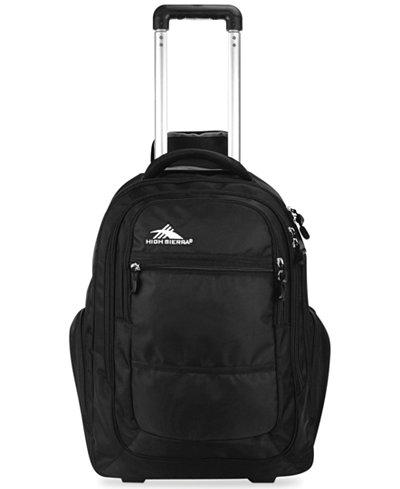 High Sierra Rev Rolling Backpack in Black