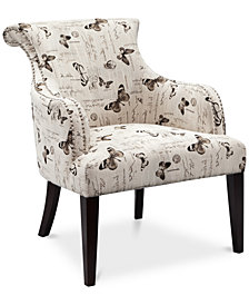 Tinsley Fabric Butterfly Accent Chair, Quick Ship
