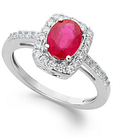 Gemstone and White Sapphire Oval Ring in Sterling Silver (1-1/2 ct. t.w.)