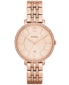 Fossil Women's Jacqueline Rose Gold-Tone Stainless Steel Bracelet Watch 36mm ES3546
