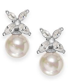 Sterling Silver Organic Man-Made Pearl Butterfly Stud Earrings