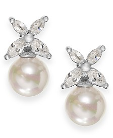Majorica Sterling Silver Organic Man-Made Pearl Butterfly Stud Earrings