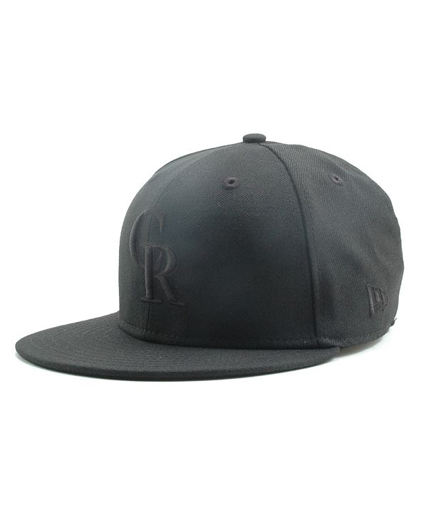 New Era Kids' Colorado Rockies MLB Black on Black Fashion 59FIFTY Cap