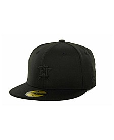 Kids' Houston Astros MLB Black on Black Fashion 59FIFTY Cap
