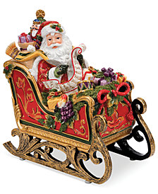 Fitz and Floyd Regal Holiday Santa in Sleigh Musical Figurine