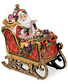 Fitz and Floyd Regal Holiday Santa in Sleigh Musical Figurine