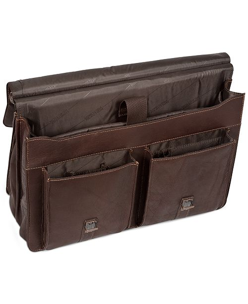 d6b4c97ae3ee Colombian Leather Dowel Rod Double Gusset Laptop Briefcase