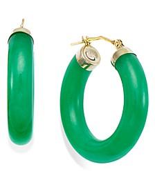 Jade Hoop Earrings in 14k Gold (27-1/2mm)