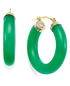 Jade Hoop Earrings in 14k Gold (27-1/2mm)