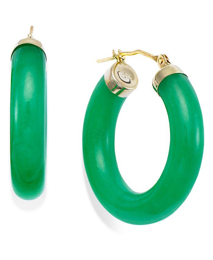 Macy's - Jade Hoop Earrings in 14k Gold (27-1/2mm)