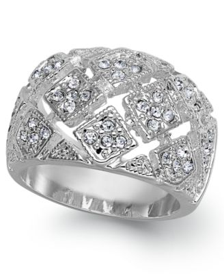 Image of Charter Club Silver-Tone Crystal Mesh Wide Ring
