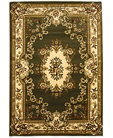 "Corinthian 5312 Green/Ivory Aubusson 7'7"" x 10'10"" Area Rug"