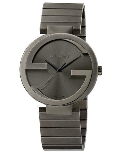 Gucci Unisex Swiss Interlocking Gray PVD-Finished Stainless Steel Bracelet Watch 42mm YA133210